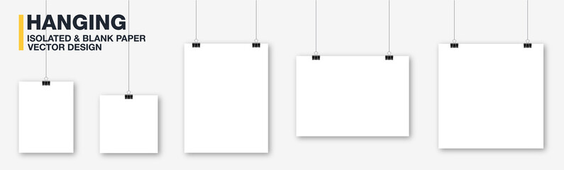Blank hanging paper list vector, white poster and banner template. Realistic mockup photo frames, A4 sheet, picture hanging. Concept art gallery canvas portfolio. Isolated illustration for editing.