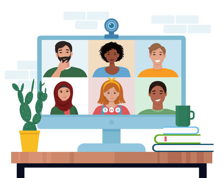 Video conference with people group. Computer screen. Vector illustration in flat style