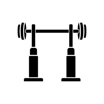 Squat rack black glyph icon. Fitness center, health club workout silhouette symbol on white space. Gym equipment for legs and back muscle training. Stand with barbell vector isolated illustration