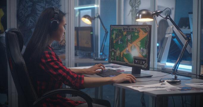 Woman beta testing video game