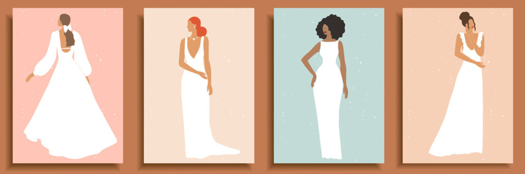 Set of abstract female shapes and silhouettes on textured background. Abstract women portraits in wedding dress in pastel colors. Collection of contemporary art posters, social media background, cards