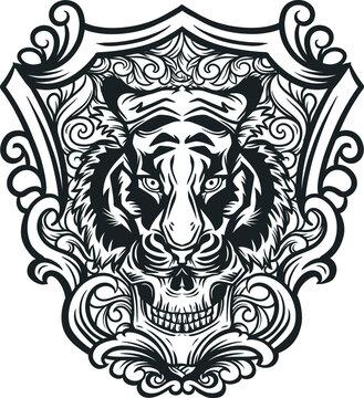 tiger and skull head illustration art