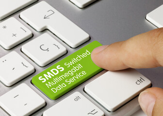 SMDS Switched Multimegabit Data Service - Inscription on Green Keyboard Key.
