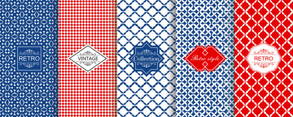 Set of seamless geometric patterns in blue and red with trendy modern colorful labels. Shabby chic. Vector geometric seamless textures with diagonal lines, stripes