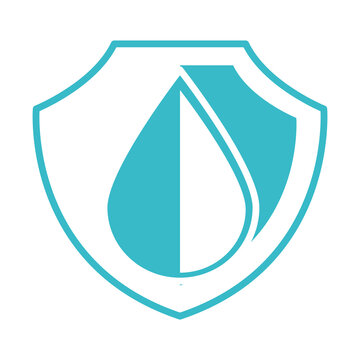 water drop shield protection nature liquid blue silhouette style icon