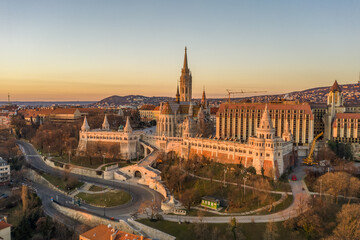 Fototapeten Budapest Aerial drone shot of Matthias Church on Buda hill during Budapest sunrise at dawn