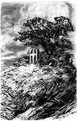 stone monument and tree on the hill - black and white vector illustration