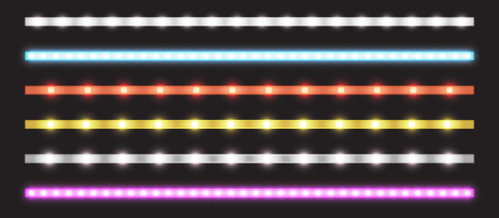 Led strips with neon glow effect isolated on transparent background. Vector realistic set of colored light stripes, glowing tape with pink, red, blue, yellow and white lamp and diode bulbes Wall mural