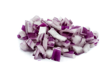 sliced red onion cubes isolated on white