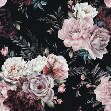 Seamless floral pattern with flowers on summer background, watercolor illustration