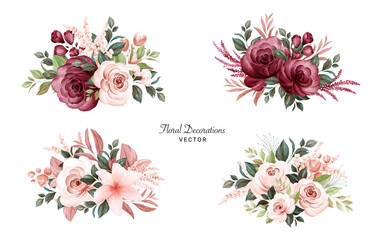 Set of watercolor bouquets of soft brown and burgundy roses and leaves. Botanic decoration illustration for wedding card, fabric, and logo composition