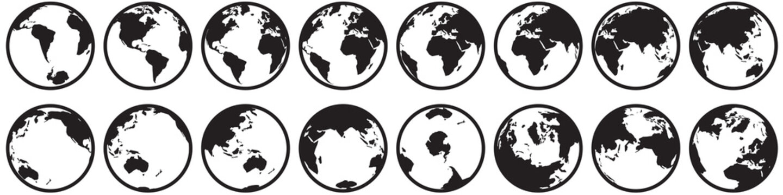 ICÔNE GLOBE TERRESTRE. Avec faibles détails. Plat. Vues Antarctique et Arctique