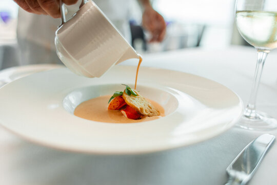 lobster bisque soup with bread at high scale classy restaurant
