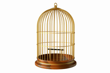 Wooden base gold birdcage with close door isolated on white background