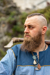 Portrait of a Viking warrior with a long beard