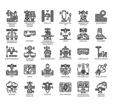 Set of satellite thin line and pixel perfect icons for any web and app project.