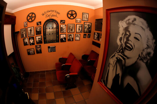 A small movie room for guests is seen at the Soho Boutique Palacio San Gabriel hotel after an easing of restrictions imposed to control the spread of the coronavirus disease (COVID-19), in downtown Ronda