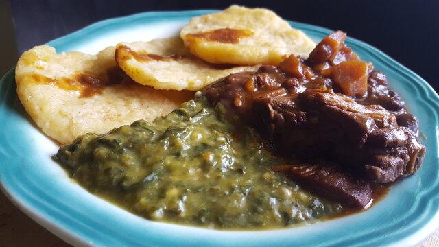 Caribbean Callaloo, Stew Chicken and dumplings