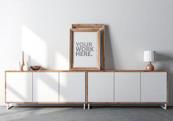 Wooden Frame Mockup on Modern Bureau