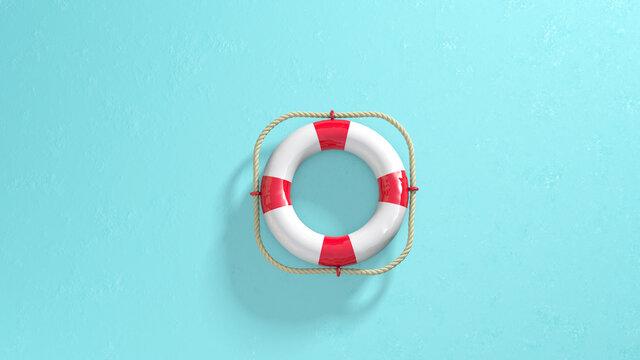 lifebuoy ring or life saver ring on blue background
