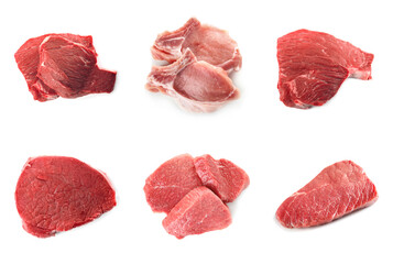 Set with raw meat on white background, top view