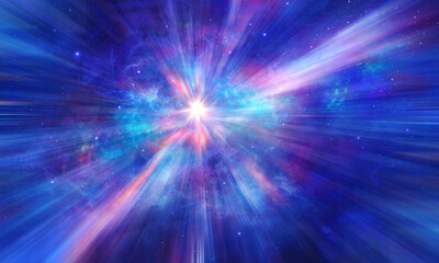Space background. Exploding star, sun in colorful blue nebula with light rays. Elements furnished by NASA. 3D rendering Wall mural