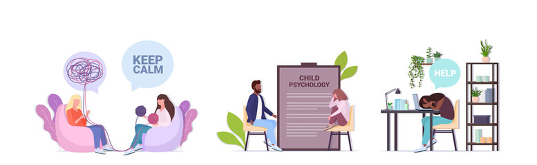 set upset people visiting psychologist depression problems stress bullying psychotherapy concept s horizontal full length vector illustration