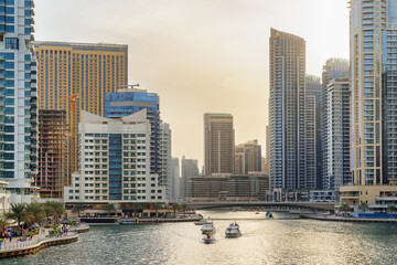 Beautiful view of Dubai Marina at sunset, United Arab Emirates