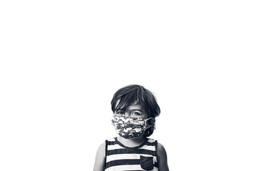 young boy wearing a striped shirt and a mask on a white background in black and white, horizontal