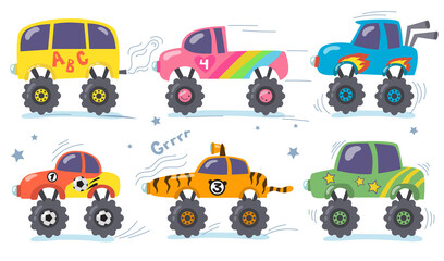 Cartoon monster trucks set. Childish retro heavy transport with big wheels. Vector illustrations for children toys, racing, funny cars, robotics concept
