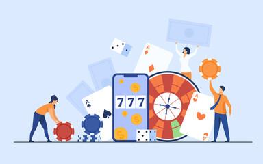 คนตัวเล็กมีความสุขในการเล่นการพนันในคาสิโนออนไลน์แยกภาพเวกเตอร์แบน  ตัวการ์ตูนที่เล่นในรูเล็ตโป๊กเกอร์แบล็คแจ็ค  แนวคิดเกี่ยวกับเงินและความเสี่ยง