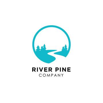 River Creek, Fir Pines Evergreen Forest Nature logo design