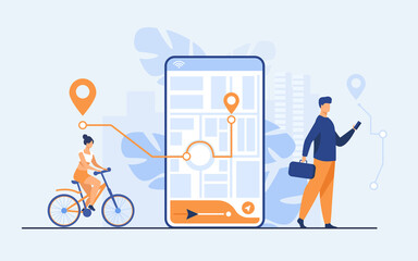 Tiny people using mobile application with map outdoors isolated flat vector illustration. Cartoon phone with navigation tracking app. Journey and technology concept