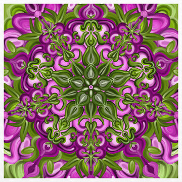 Symmetrical colorful decorated green and pink  background
