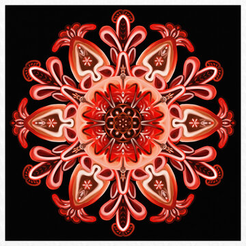 Symmetrical colorful decorated red background