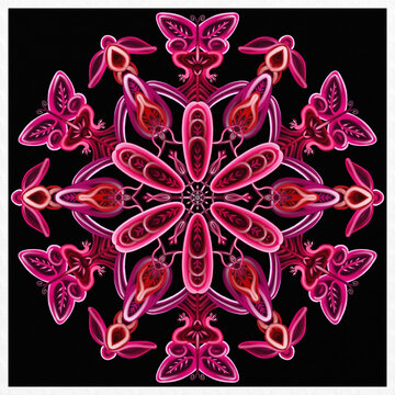 Symmetrical colorful decorated pink background