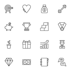 Business motivation line icons set, outline vector symbol collection, linear style pictogram pack. Signs, logo illustration. Set includes icons as aim target, money bag, award cup, career ladder