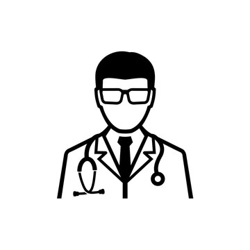 Doctor with white coat and stethoscope medical consultation vector icon