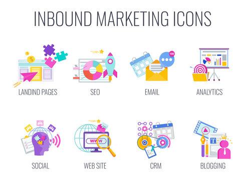 Inbound Marketing. Digita marketing icons. Internet Content Management Strategy.