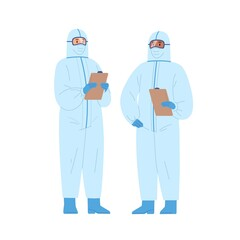 Fotobehang Hoogte schaal Two diverse male doctors in protective suits holding clipboard vector illustration. Medical staff wearing uniform standing together isolated on white. Emergency aid workers in safety clothes