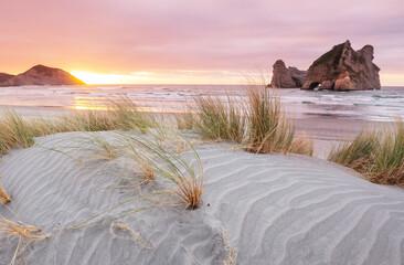 Foto op Canvas Lichtroze Dunes on ocean coast