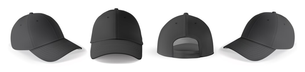 Cap mockup set. Isolated realistic black baseball cap hat templates. Front, back and angle view of adult man caps mockup collection. Vector sport uniform headwear clothing fashion mock up