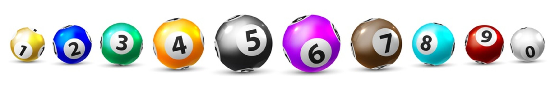 Bingo game balls. Isolated ten lottery ball icon set for leisure lottery sport game. Realistic shiny sphere bingo balls with numbers. Casino, luck opportunity in gambling