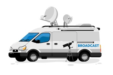 Broadcasting van. Isolated media broadcasting communication transport and video camera. Television channel van auto vehicle with satellite antennas press equipment for live breaking news broadcast