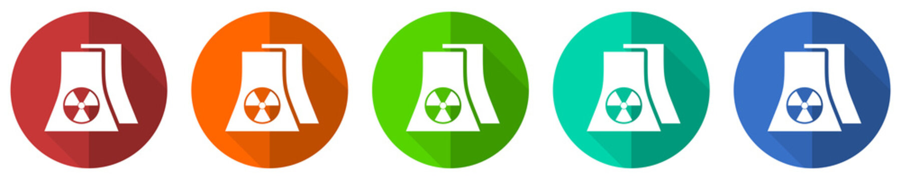 Nuclear power plant icon set, red, blue, green and orange flat design web buttons isolated on white background, vector illustration