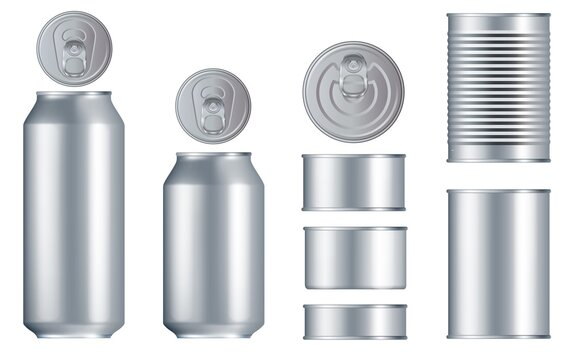 Can set. Steel tin can, metal lid set isolated on white background. Different size container bundle for drink, conserve food with place for brand design. Aluminum packaging mockup vector illustration