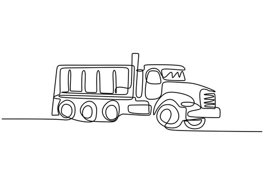 One single line drawing of big mining dump truck to load coal and mining products. Heavy transportation vehicle concept. Modern continuous line art isolated on white background. Vector illustration