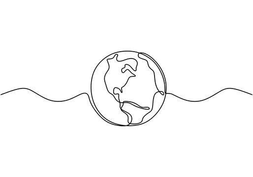 Earth globe one line drawing of world map vector illustration minimalist design of minimalism isolated on white background. Planet of Earth hand drawn illustration for logo, emblem and design poster