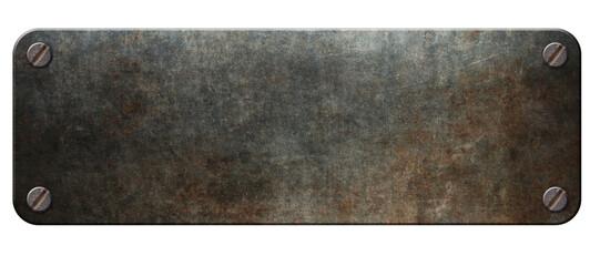 Old steel plaque on rust metal background 3d illustration.