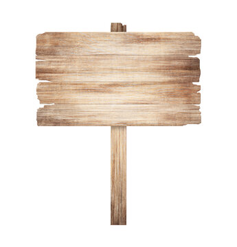 Wooden sign isolated on a white background. Old wood planks. 3D illustration